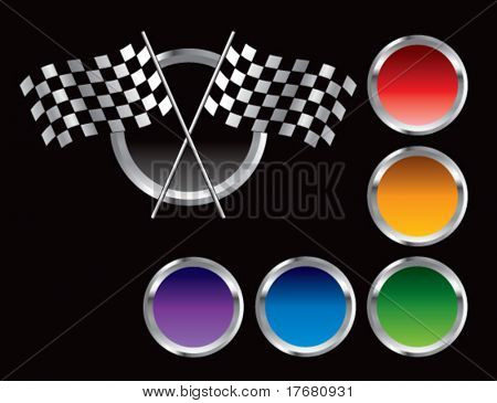 racing checkered flags on colored web button
