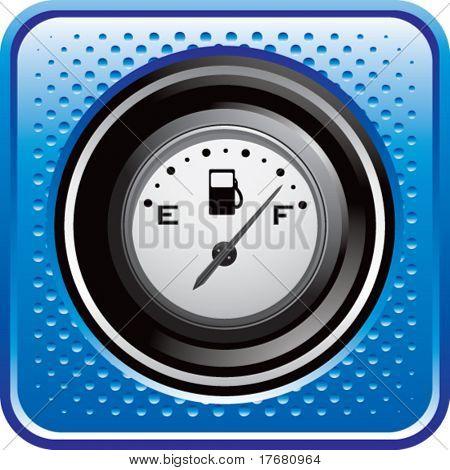 fuel gauge on blue halftone web button