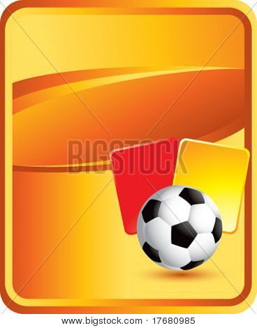 soccer ball and penalty cards on classic orange background