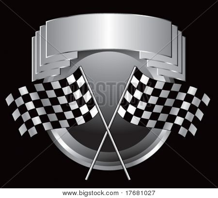racing checkered flags on silver crest