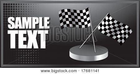 racing checkered flags on banner