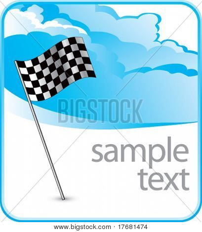 checkered flag on cloud banner