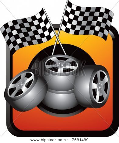 racing tires and checkered flags on web button