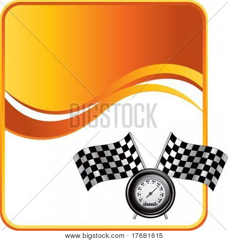 racing checkered flags and speedometer on orange wave background