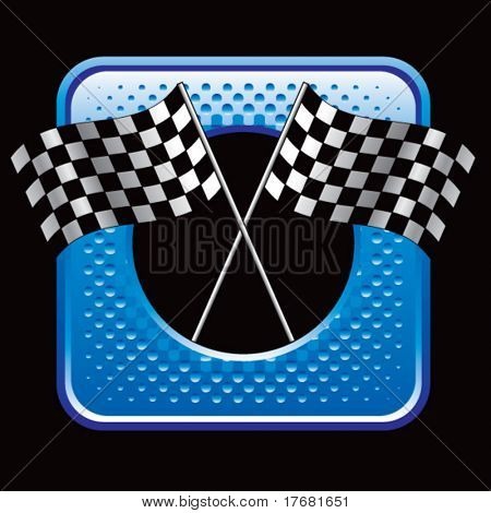 racing checkered flags on blue halftone web button