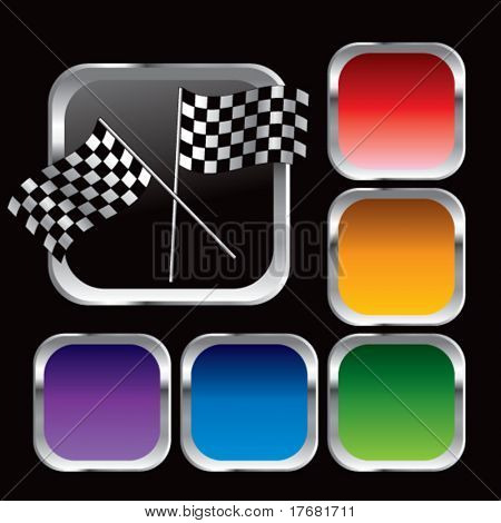 racing checkered flags on square colored web buttons