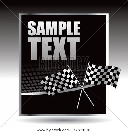 racing checkered flags on black halftone banner
