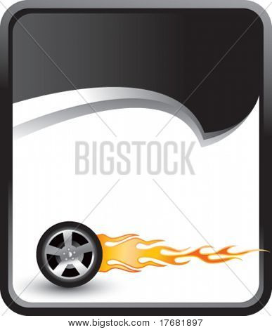 flaming tire on rip curl background