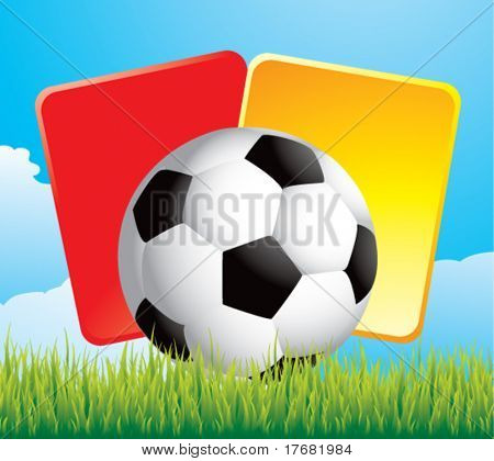 soccer ball and penalty cards on grass