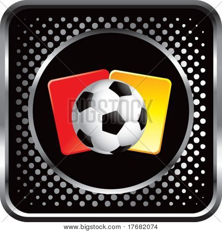 soccer ball and penalty cards on black halftone web button