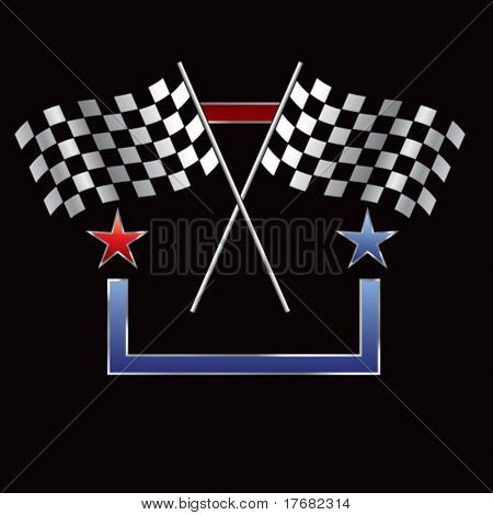 racing checkered flags on star background