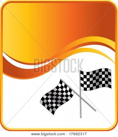 racing checkered flags on gold wave background