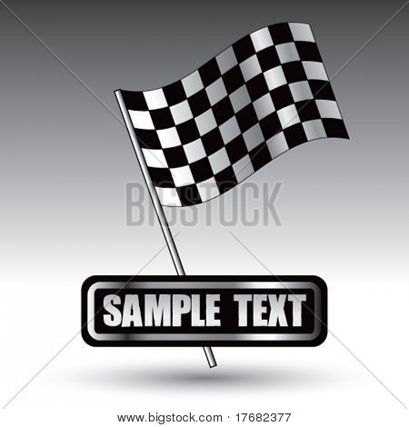 racing checkered flag on nameplate