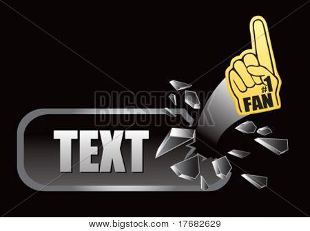 number one fan foam hand on broken banner