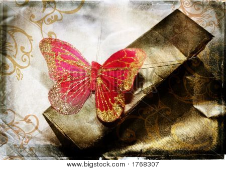Grunge Red Butterfly