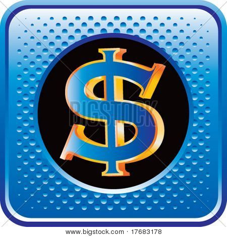 dollar sign on blue web button