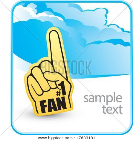 number one fan foam hand on cloud banner