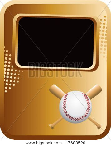 baseball and crossed bats on gold template banner