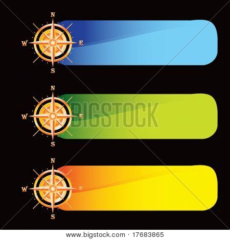 Compass on colored banners