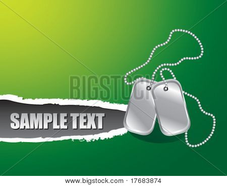Dog tags on ripped banner