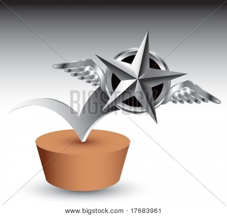 winged icon featuring silver star bouncing on patch