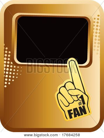 number one foam hand on gold template banner