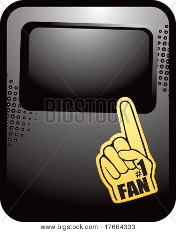 number one fan foam hand on black template banner
