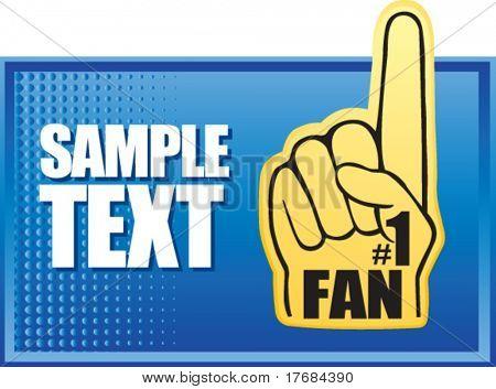 number one fan foam hand on blue halftone banner