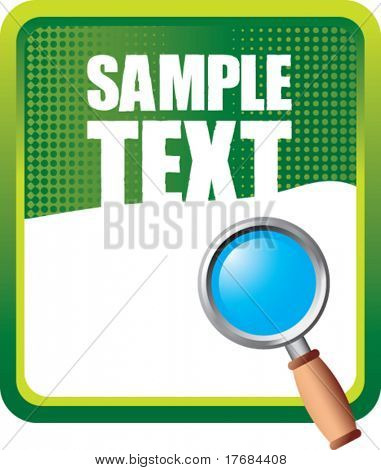 magnifying glass on green halftone banner
