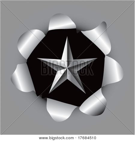 star icon coming out of paper hole