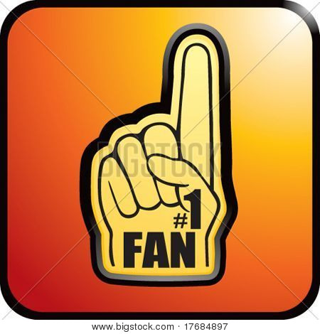 number one fan foam hand on orange web button