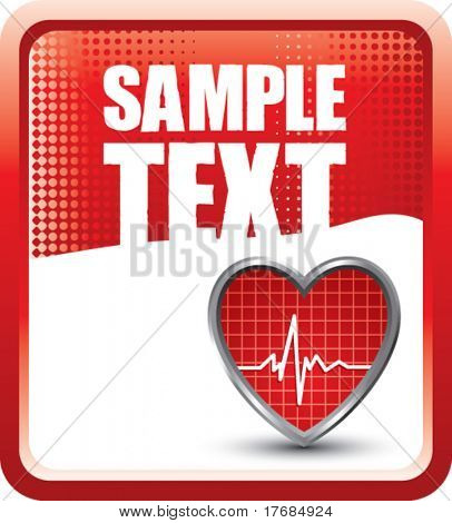 heart beat on red halftone banner