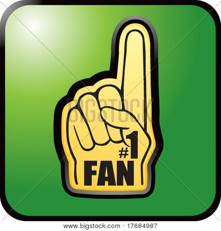 number one fan foam hand on green web button