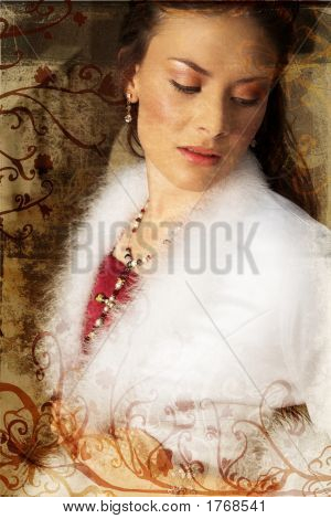 Grunge Beautiful Bride In Red And White