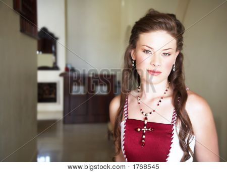 Beautiful Bride With Long Hair In Red And White Dress