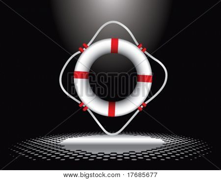 life ring under spotlight