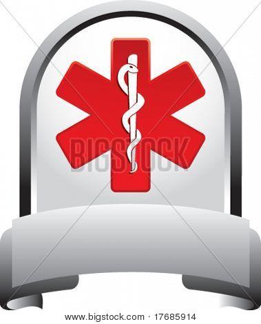 caduceus medical symbol on silver banner