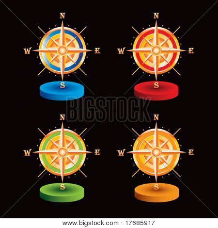 compass on colored discs