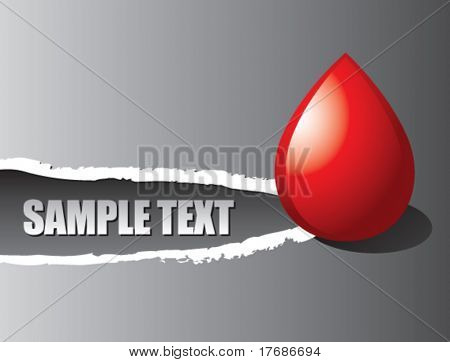 blood droplet on ripped banner
