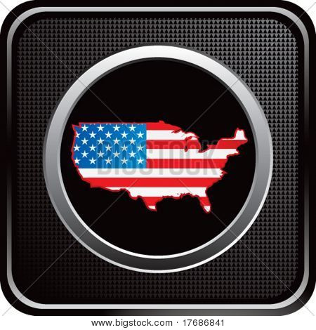 red white and blue united states icon on black web button