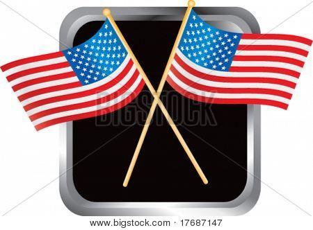 cruzou bandeiras americanas no botão web moldada prata