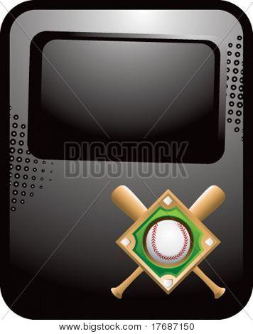 baseball diamond and crossed bats on black template banner