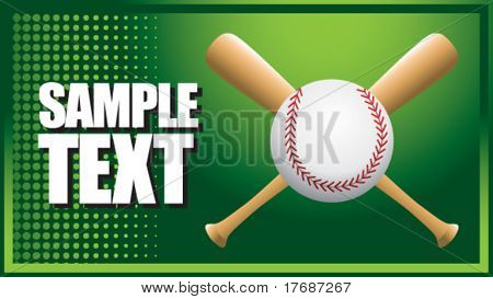 baseball and crossed bats on green halftone banner