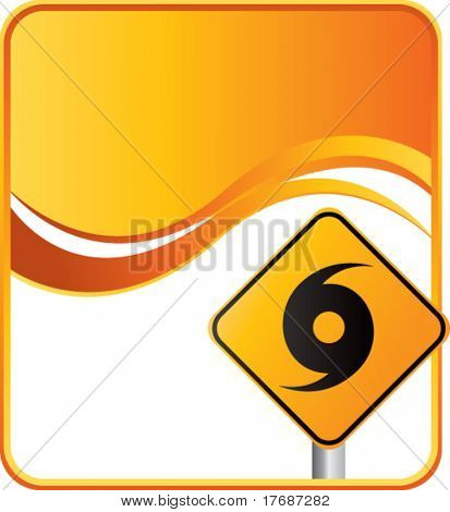 hurricane warning sign on orange wave background