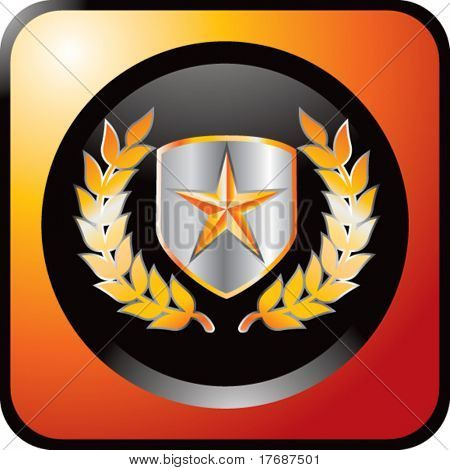 gold star on shield with leaves on orange web button