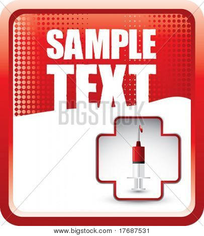syringe with blood in first aid icon on red halftone banner