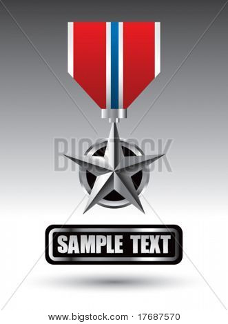 military medal on nameplate