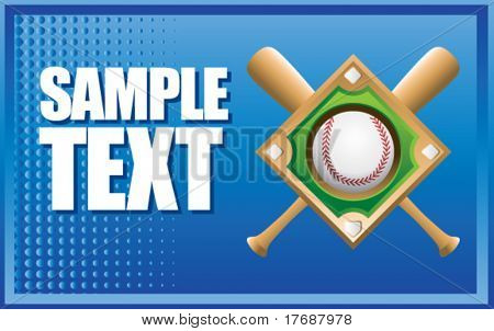 baseball diamond and crossed bats on blue halftone banner