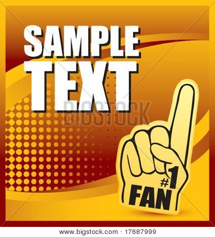 number one fan foam hand on orange halftone web button