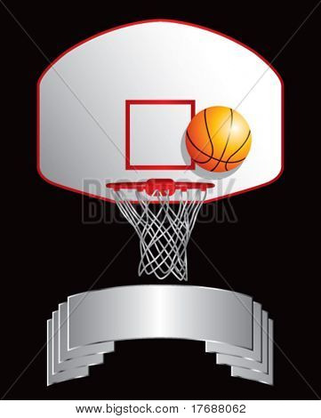 basketball backboard and hoop on silver display